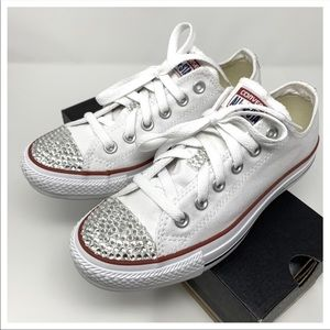 CONVERSE WHITE CUSTOM LOW BLING SHOES